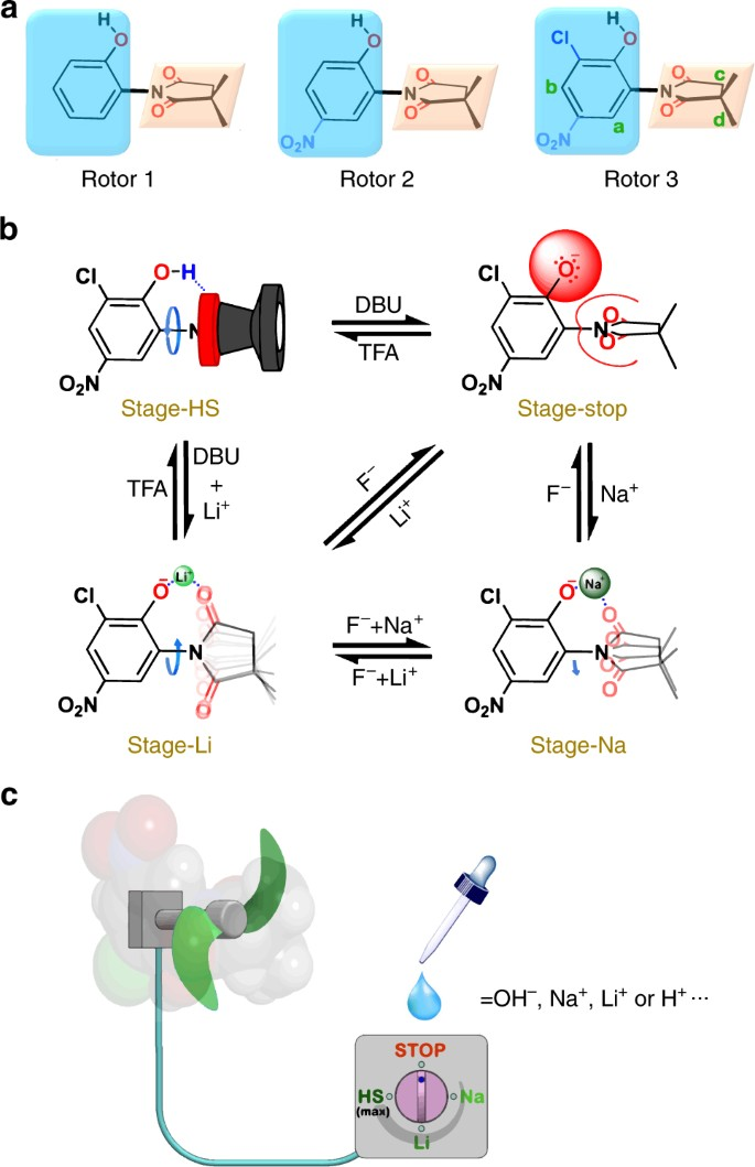 A multistage rotational speed changing molecular rotor regulated by