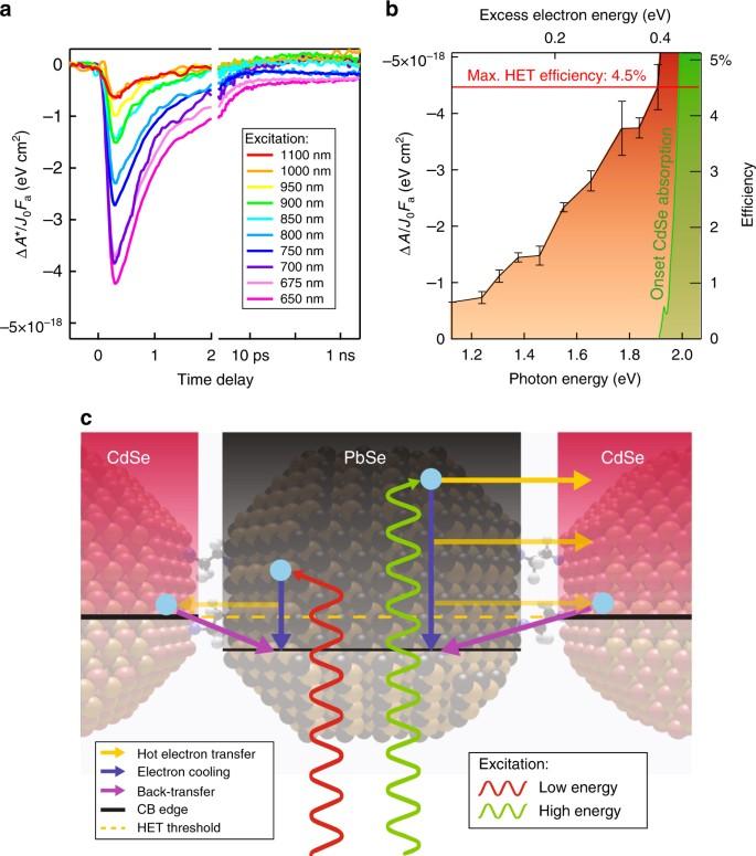 Hot-electron transfer in quantum-dot heterojunction films