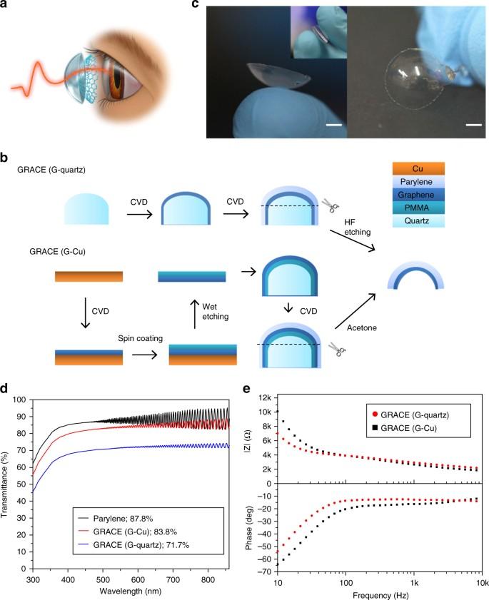 Soft transparent graphene contact lens electrodes for conformal full on