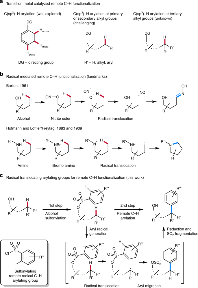 Remote C−H functionalization using radical translocating