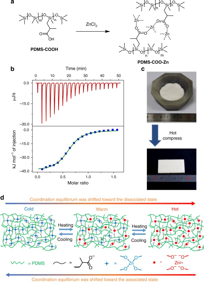 A rigid and healable polymer cross-linked by weak but abundant Zn(II