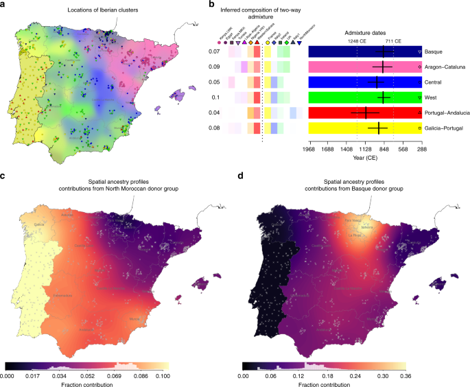 Map Of Spain Under Moorish Rule.Patterns Of Genetic Differentiation And The Footprints Of Historical