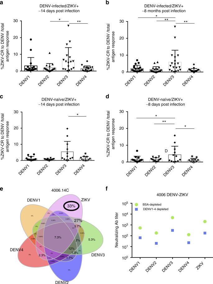 Impact of pre-existing dengue immunity on human antibody and memory