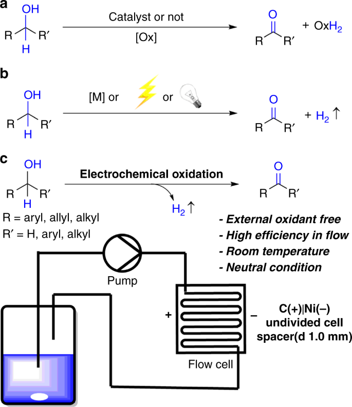 Direct electrochemical oxidation of alcohols with hydrogen