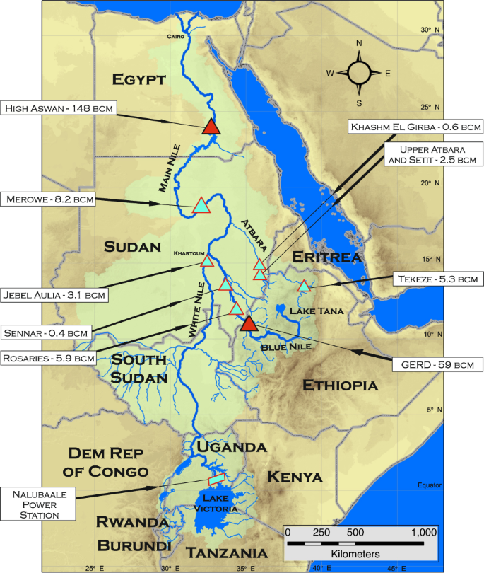 Fig. 1: Map of the Nile Basin with major infrastructure.