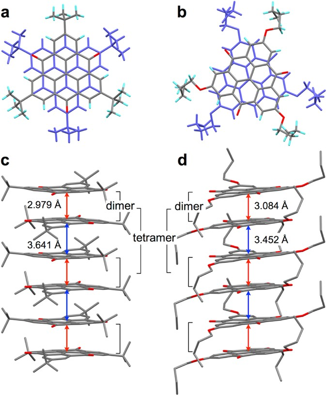 Near-infrared absorption of π-stacking columns composed of
