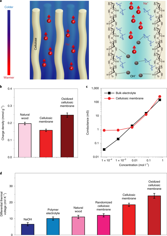 Cellulose ionic conductors with high differential thermal
