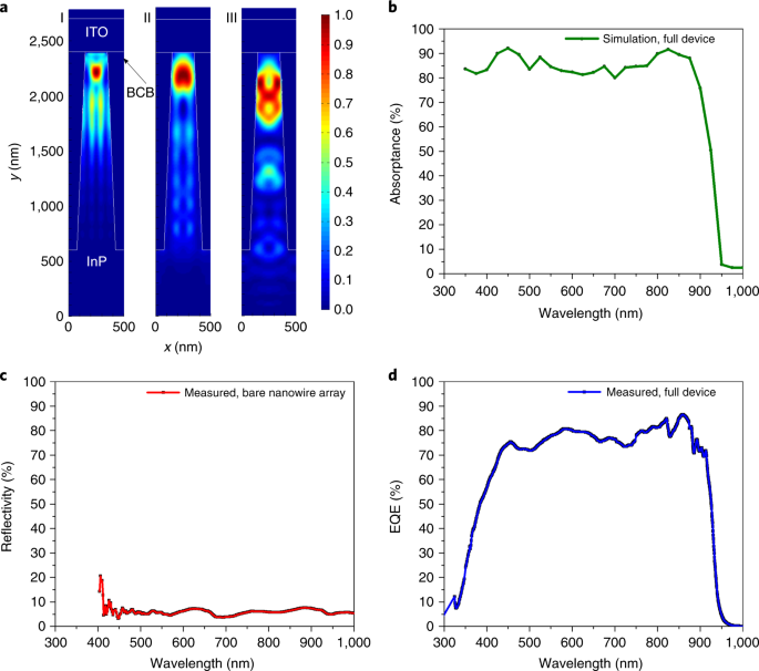 Tapered InP nanowire arrays for efficient broadband high