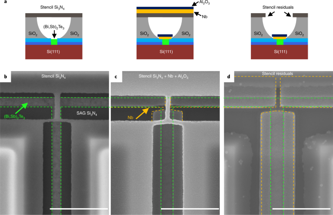 Selective area growth and stencil lithography for in situ fabricated