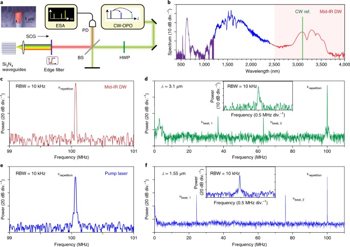 Mid-infrared frequency comb via coherent dispersive wave