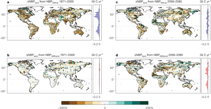 Large influence of soil moisture on long-term terrestrial carbon