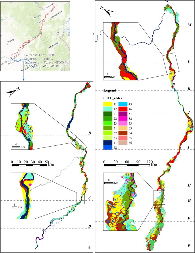 this figure illustrates the land-use data at 1:100,000 scale for riparian  zone in 2012  the lucc_codes represent different land-use types, i e ,