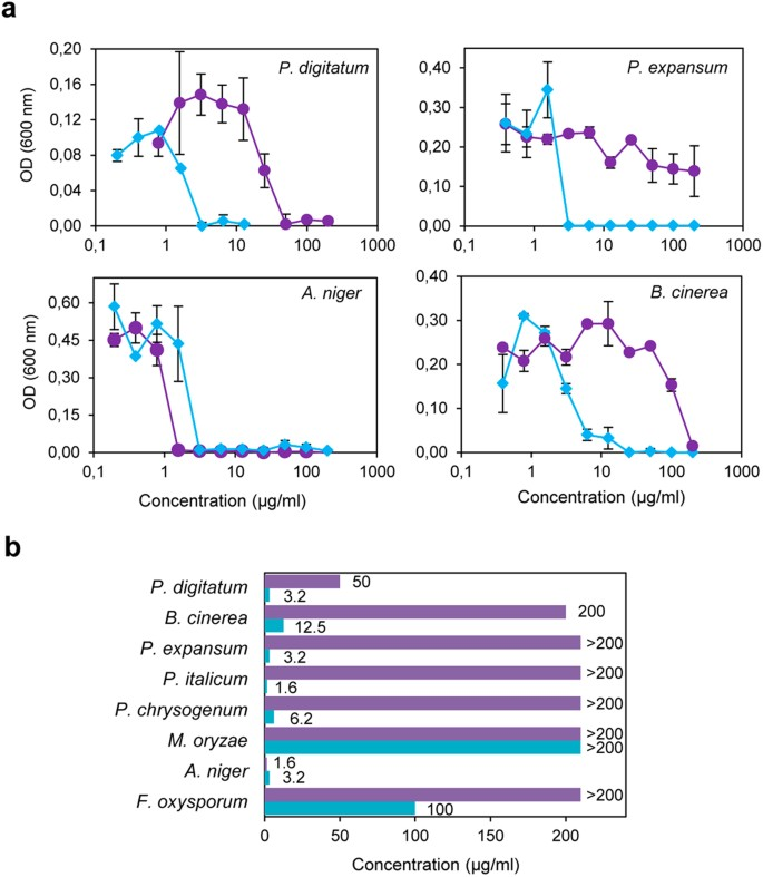 (a) Dose-response curves comparing the antifungal activity of PAF (purple circles) and AfpB (blue diamonds) against P. digitatum, P. expansum, ...
