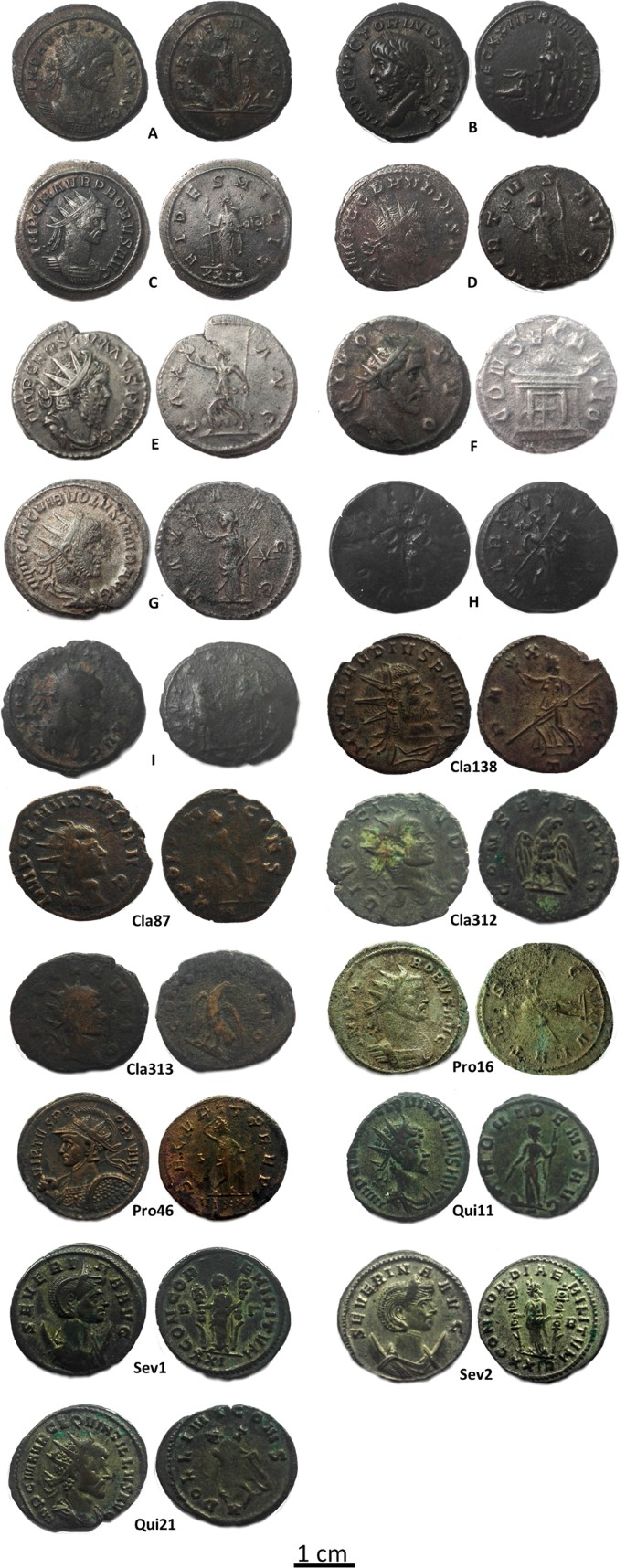 FIB-FESEM and EMPA results on Antoninianus silver coins for