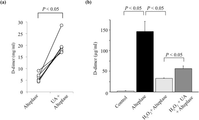 Uric acid enhances alteplase-mediated thrombolysis as an