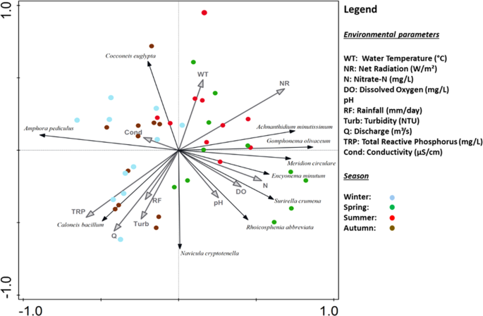 principal component analysis with monthly diatom species scores limited to  10 by fit  environmental variables averaged over an antecedent window of 21  days