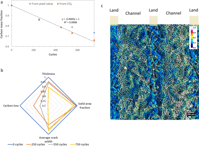 Four-dimensional joint visualization of electrode degradation and