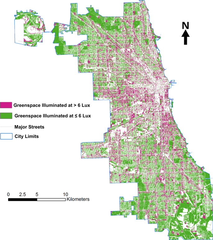 Mapping behaviorally relevant light pollution levels to