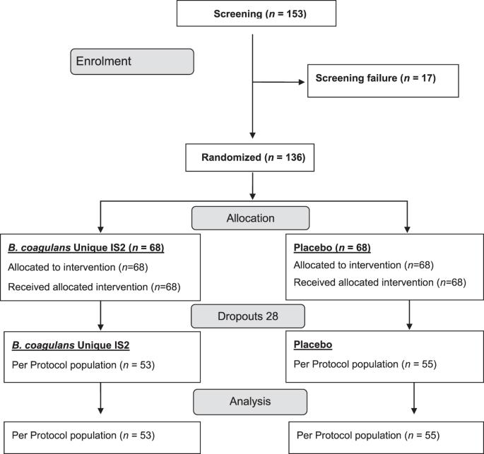Randomized clinical trial: the effect of probiotic Bacillus coagulans