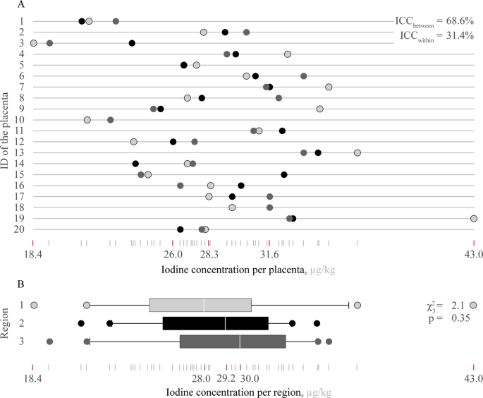 Variability of iodine concentrations in the human placenta