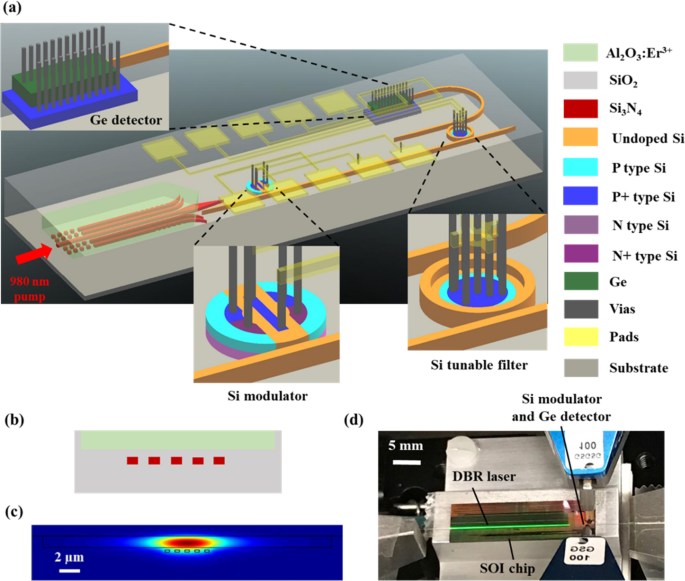 A Silicon Photonic Data Link with a Monolithic Erbium-Doped Laser