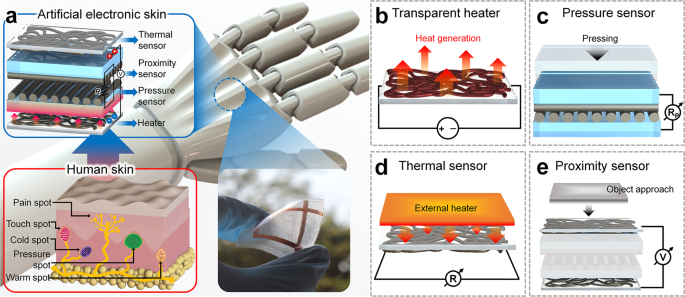 Transparent Body-Attachable Multifunctional Pressure, Thermal, and Proximity Sensor and Heater