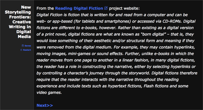Teaching digital fiction: integrating experimental writing