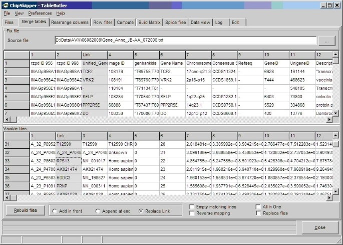 TableButler – a Windows based tool for processing large data tables