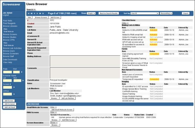 Screensaver: an open source lab information management