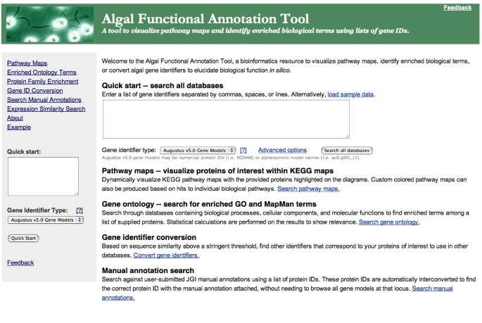 Algal Functional Annotation Tool: a web-based analysis suite
