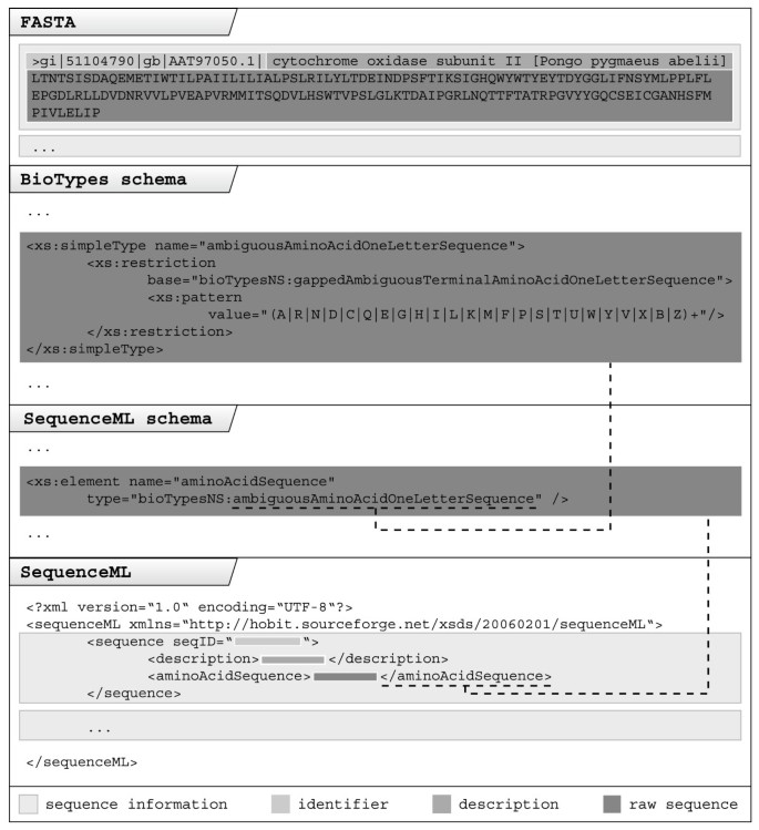 XML schemas for common bioinformatic data types and their
