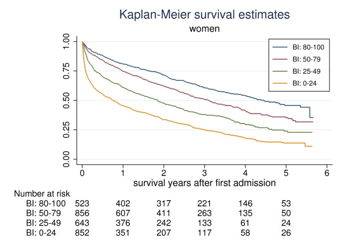 Functional level at admission is a predictor of survival in