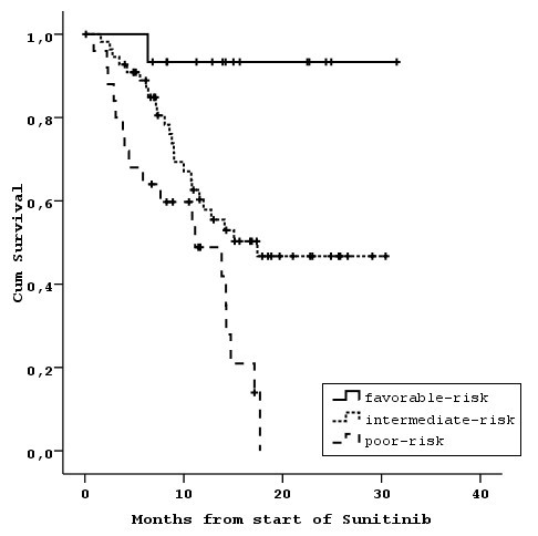 Prognostic stratification of patients with advanced renal