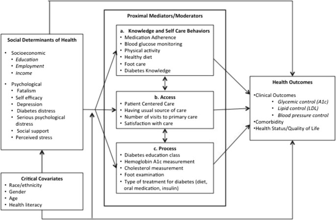 Relationship between social determinants of health and processes and