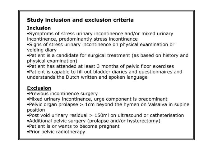 Protocol for the value of urodynamics prior to stress