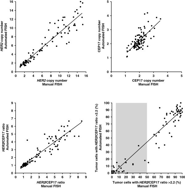 Comparison of automated and manual FISH for evaluation of HER2 ...