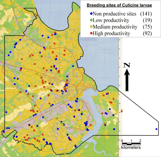 Habitat characterization and spatial distribution of Anopheles sp