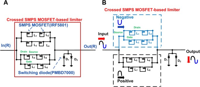 Crossed SMPS MOSFET-based protection circuit for high