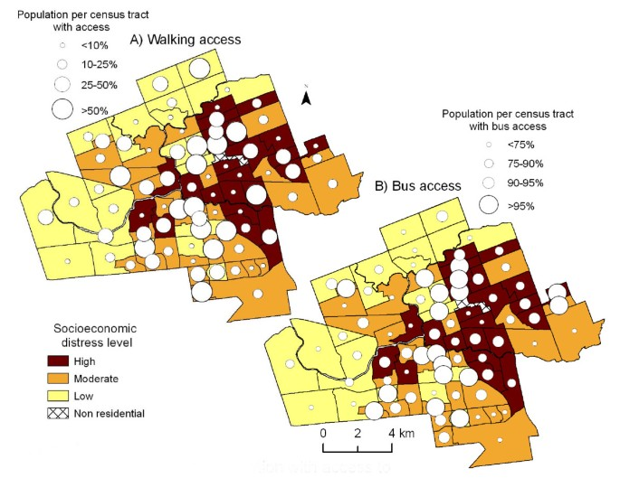 Mapping the evolution of 'food deserts' in a Canadian city