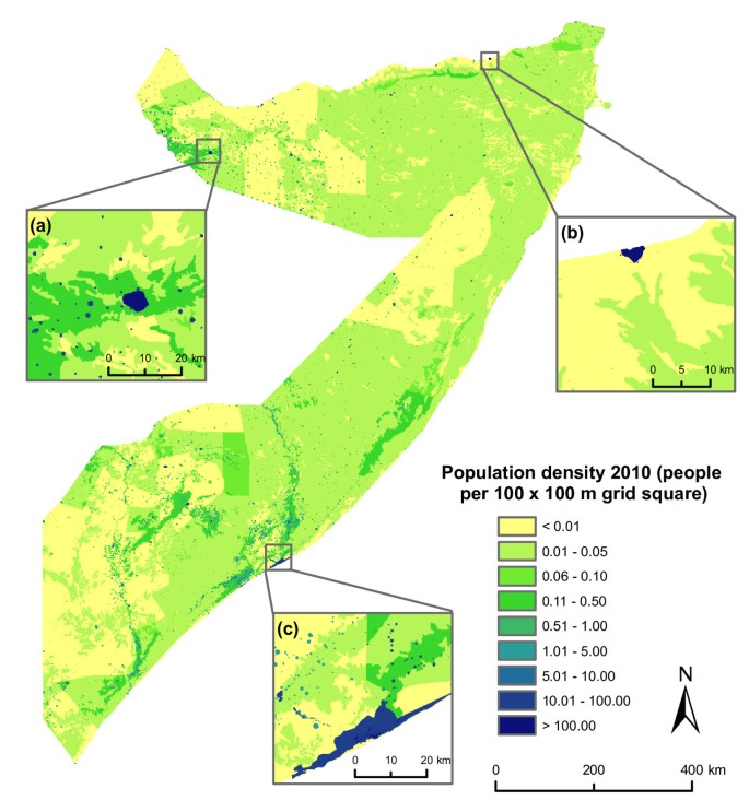 A high resolution spatial population database of Somalia for disease
