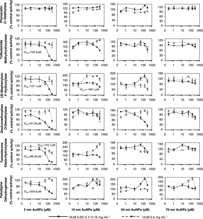 Size- and time-dependent alteration in metabolic activities of human