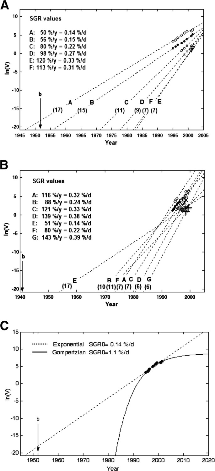 A new method to estimate parameters of the growth model for