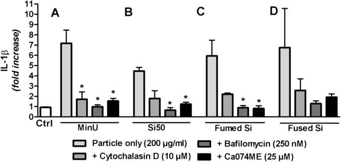 Comparison of non-crystalline silica nanoparticles in IL-1β