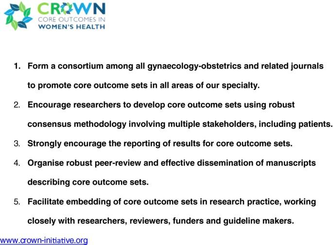 The CROWN Initiative: journal editors invite researchers to develop