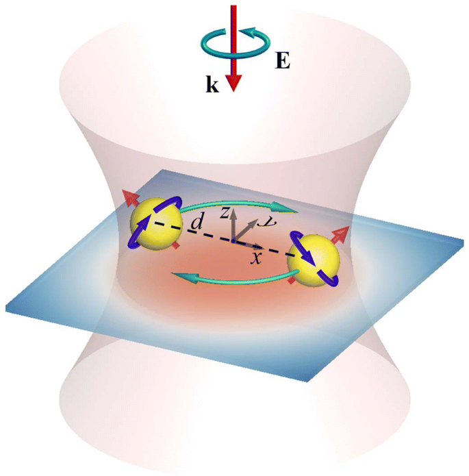 Spin and Orbital Rotation of Plasmonic Dimer Driven by