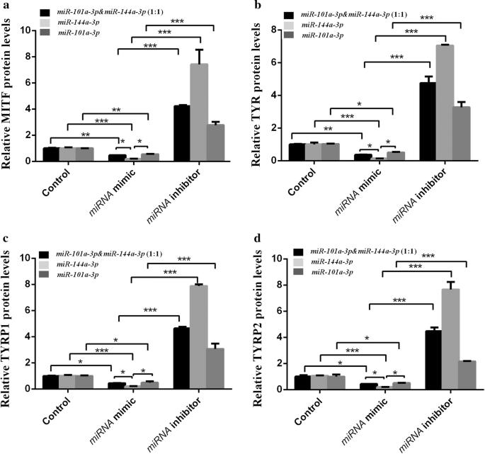 Comparison of miRNA - 101a - 3p and miRNA - 144a - 3p