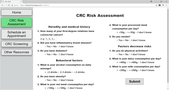 A patient-oriented clinical decision support system for CRC risk