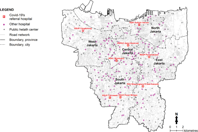 Gis Based Approaches On The Accessibility Of Referral Hospital Using Network Analysis And The Spatial Distribution Model Of The Spreading Case Of Covid 19 In Jakarta Indonesia Bmc Health Services Research Full
