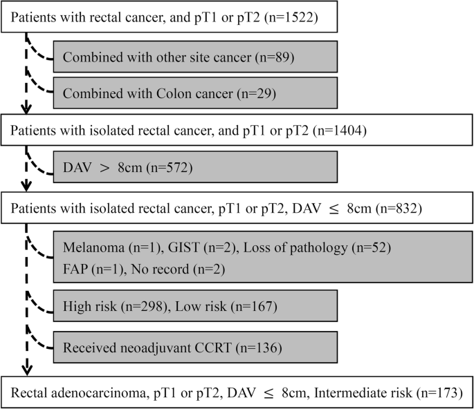 Survival Analysis Of Local Excision Vs Total Mesorectal Excision For Middle And Low Rectal Cancer In Pt1 Pt2 Stage And Intermediate Pathological Risk World Journal Of Surgical Oncology Full Text