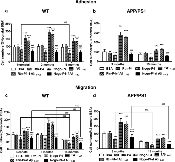The adhesion and migration of microglia to β-amyloid (Aβ) is